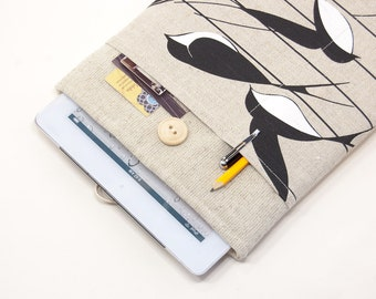 "50% OFF SALE White Linen iPad Pro Case with swallows pattern pocket. Padded Cover for iPad Pro 12.9"". iPad Pro 9.7"" Sleeve"