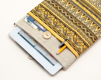 """50% OFF SALE White Linen iPad Pro 9.7"""" Case with tribal motives pocket. Padded Cover for iPad Pro 12.9"""". iPad Pro Sleeve"""