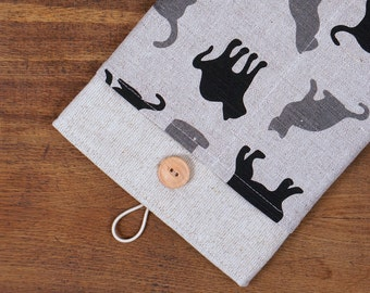 """50% OFF SALE White Linen iPad Pro 9.7"""" Case with black grey cats pocket. Padded Cover for iPad Pro 12.9"""". iPad Pro Sleeve"""
