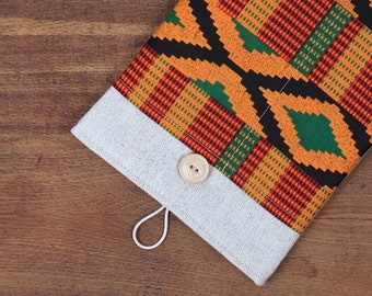 """40% OFF SALE White Linen iPad Pro 9.7"""" Case with African Kente Style pocket. Padded Cover for iPad Pro 12.9"""". iPad Pro Sleeve"""