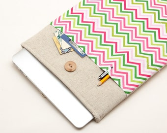 50% OFF SALE MacBook Pro Case with pink & green chevron pocket. Case for MacBook 13 Pro Retina. Sleeve for MacBook 13 Air / MacBook 13 Pro