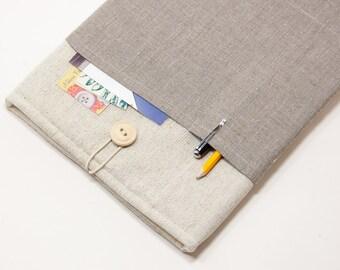 50% OFF SALE White Linen MacBook Case with dark linen pocket. Case for MacBook 11 Air. Sleeve for MacBook Air 11 inch.