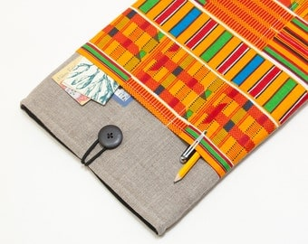 "50% OFF SALE Dark Linen MacBook 11"" Case with African Kente Style pocket. Case for MacBook 11 Air. Sleeve for MacBook Air 11 inch."