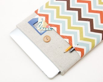 """50% OFF SALE White Linen macbook 11 case with colorful chevron pocket. Case for MacBook 11 Air. Sleeve for MacBook Air 11"""""""