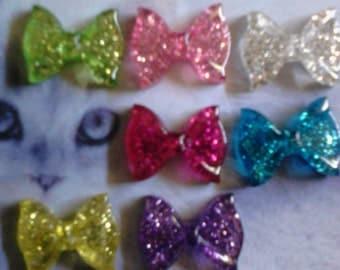 Kawaii glitter bow cabochon decoden deco diy charms 7 pcs---USA seller