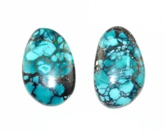 Natural Turquoise Cabochon 2 Pieces 26x17x5mm, 17x17x 5mm J18B6951