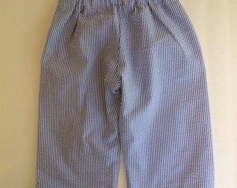 Baby Boy Seersucker Lined Long Pants 24 Month