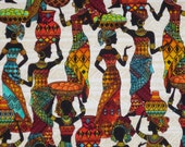 Colorful African Ladies Kenta Print Pure Cotton Fabric--One Yard