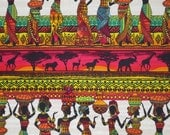 Colorful African Ladies Kenta Border Print Pure Cotton Fabric--One Yard