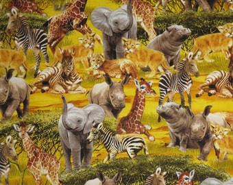 Golden Safari Animals Print Pure Cotton Fabric from Timeless Treasures--One Yard