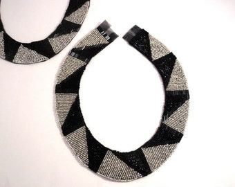 Stunning Black and Silver Deco/Ethnic Design Beaded Collar--One Piece