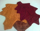 Fall Leaves**Set of 3**Decorative Fall decor**Autumn**Harvest time**Decorative Machine Stitched**Gold**Brown**Burgundy**