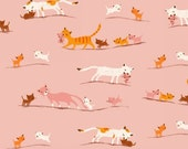 Tiger Lily by Heather Ross - Pink Marching Cats (40931-1) - 1 Yard