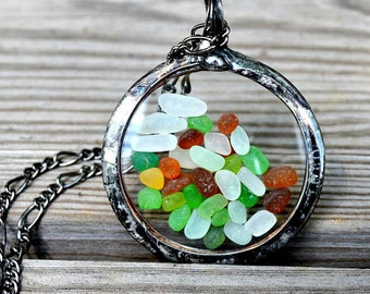 Moving Necklace, Multicolor Beach Glass Jewelry or Sea Glass Jewelry Vintage Pocket Watch Crystals Mermaid Tears Moving Pendant (2397)