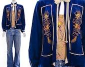 Vintage 50s DRAGON Asian Jacket Retro Kimono Sapphire Blue Silk Rare Jacket Poet Dramatic Sleeves Mandarin Tassel Collar Small