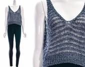 Vintage 70s 80s BOHO CROCHET Top // Knit Shirt // Heather Blue // Open Weave Vintage Crochet Tank Plunging Neckline Sexy