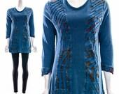 Vintage 90s Blue Tie Dye Inset Cotton Tunic Patchwork Hippy Hippie Top Artsy Boho Bohemian Blouse Small Medium