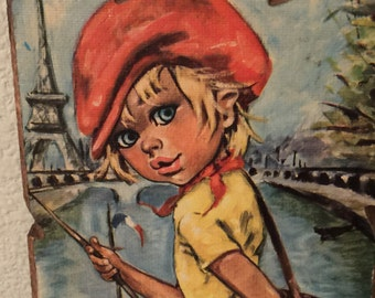 Retro Idylle Chipboard Big Eyes print Wall Hanging Made in Italy 1960 1970