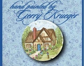 Hand painted button -  Country Cottage