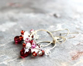 Chandelier Cluster Earrings Garnet Gemstone Sterling SIlver Rustic Red Moonstone Multi Stone