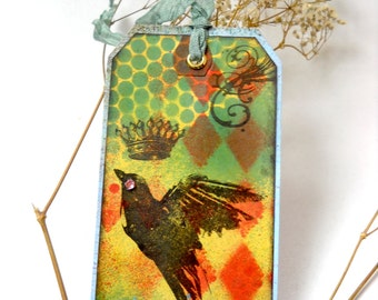 Shipping Tag Art, Altered Crow Art Tag, Crow Silhouette Tag, Mixed Media Shipping Tag