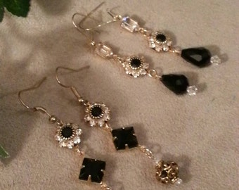 Romantic Style Dangle Earrings, Rhinestone and Crystal, Vintage Connectors, Black and Clear, 2 Patterns