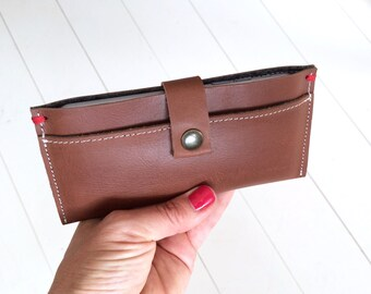 SLIM IPHONE SE /6 wallet leather case - cognac buffalo leather & wool felt - mens wallet - cardholder - formal - chic