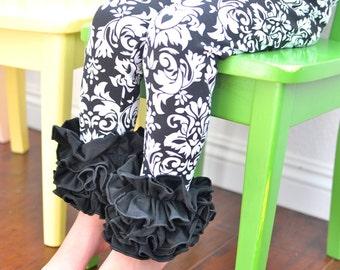 Black and White Damask Leggings with Multi-Fold Ruffles  / Girls Leggings