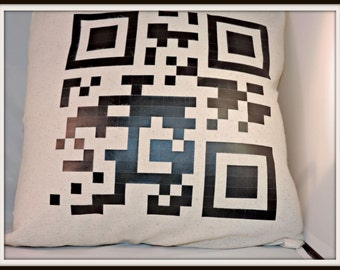 Your Message in QR Smart phone pillow-- Personalized Pillow - Custom Pillow - Geeky Chic-Nerd Pillow