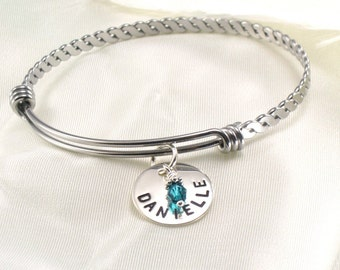 Hand Stamped Mother's Fancy Charm Bracelet with Kids Name on Sterling Silver Disc - Birthday Crystals - Expandable Bangle - For Mom