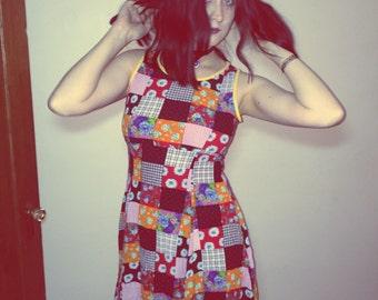 90s patchwork floral mini dress size s