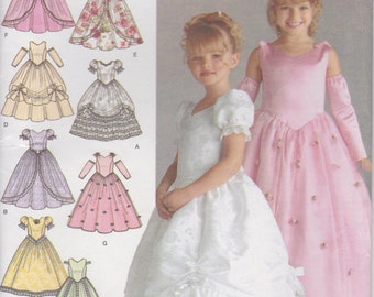 Girls Pageant Dress Pattern Flower Girl Long Gown Full Size 3 - 4 - 5 - 6 Uncut Simplicity 4764 Design Your Own