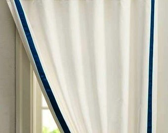 White Curtain with Grosgrain Ribbon  trim  - color options