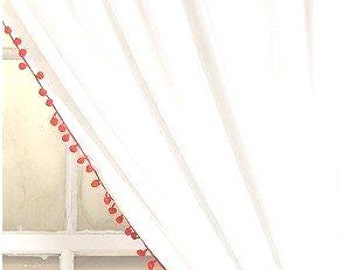 Orange Pom Pom Trim Curtain
