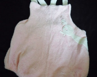 Pink Terrycloth BIRD Vintage 1970's Baby Girl Romper Sunsuit M 9 monthes