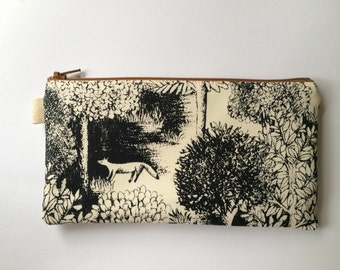 Forest. Japanese Fabric. Pencil case, pencil pouch, makeup pouch.
