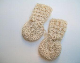 Natural Alpaca Baby Mittens