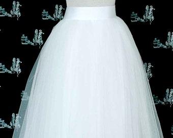 White Tulle Skirt . Wedding tulle skirt .Tea length tulle skirt