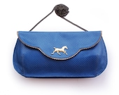 Leather clutch, Blue clutch, Evening bag, Blue leather purse, Blue large clutch with gold plated horse
