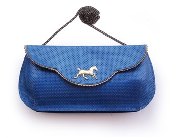 SALE Leather clutch, Blue clutch, Evening bag, Blue leather purse, Blue large clutch with gold plated horse