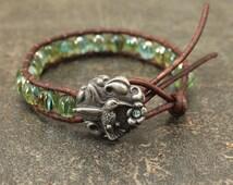 Hummingbird Bracelet Silver Turquoise Bronze Green Unique Artisan Hummingbird Jewelry