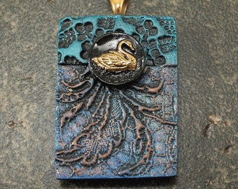 Swan Pendant Lace Texture Black Bronze Turquoise Cobalt Blue Mixed Media Pendant One of a Kind Swan Art Bead