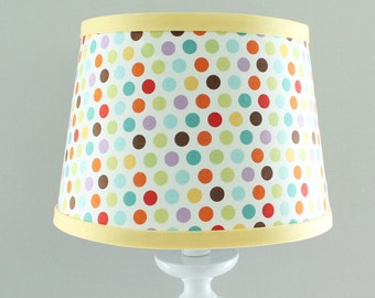 Multi Polka dot Lamp shade with yellow trim