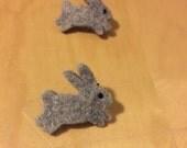 Grey Wool Felt Bunny Brooch