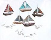 Copper Ship, Viking Long Boat, Sailboat Sculpture,sea Serpent,sail Boat Art, Sailboat Decor,wood Model Ship,distressed Copper, Row Boat Oars