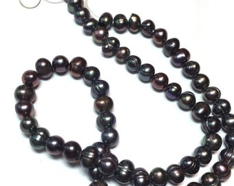 Black Freshwater Pearl Beads strand size 5mm - 6mm