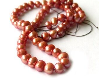 Orange Pearls Freshwater beads strand