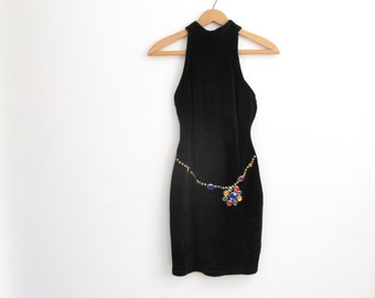 black bodycon dress - 80s vintage stretchy velvet royal jewel gem applique studded high neck open back mini party club strappy xs small