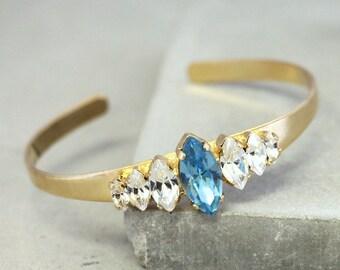 Bridal Crystal Bracelet,Aquamarine Swarovski Cuff Bracelet,Swarovski  Crystal Trending Bracelet,Bridal Gold Bracelet,Topaz Crystal Bracelet