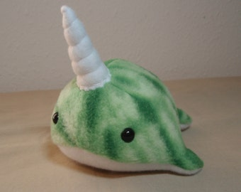 Tiny Green Tie Dye Fleece Narwhal Plush Stuffed Animal